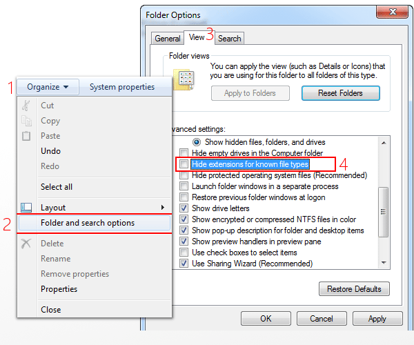 show guide to show file extensions in windows 7